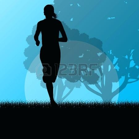 forest landscape vector fitness young woman runner running in forest landscape vector illustration background vector forest landscape 27 vector