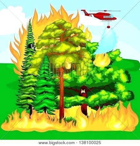 forest landscape vector forest fire fire in forest landscape damage nature ecology disaster hot burning trees forest landscape 27 vector