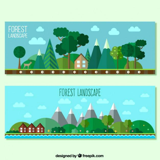 forest landscape vector forest landscape banners in flat design free vector forest landscape 27 vector