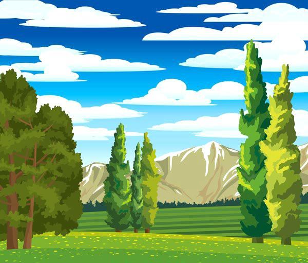 forest landscape vector forest landscapes vector illustrations summer landscape with cypress and meadow forest landscape 27 vector