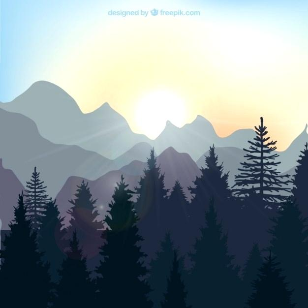 forest landscape vector sunrise landscape in the forest forest landscape 27 vector