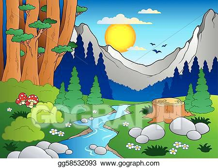forest landscape vector vector art cartoon forest landscape 2 vector illustration drawing forest landscape 27 vector