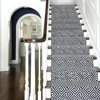 pics of stairs with runners navy geometric stair runner