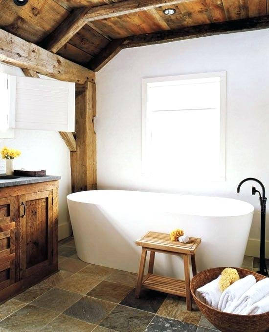 exposed beams in bathroom master bathroom with modern stand alone tub stone floors exposed beams and reclaimed wood exposed beams bathroom