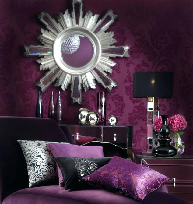 purple walls pink curtains white large curtains purple bedroom decorating dark brown wooden bedside table black metal hanging chandeliers wall interior design games for pc