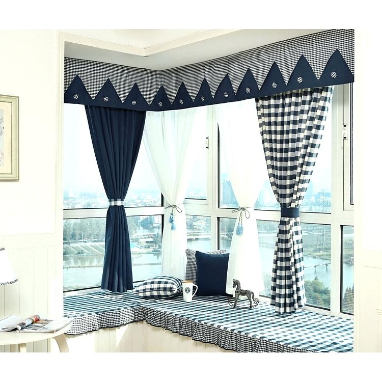 bay window curtains with valance navy blue plaid print linen cotton blend bay window valance bay window curtain and valance track