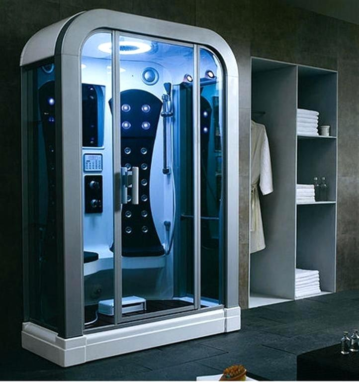 futuristic bathroom design dark brown futuristic bathroom with white and grey freestanding steam shower room with clear glass door plus grey wall mounted storage cabinets futuristic bathroom interior