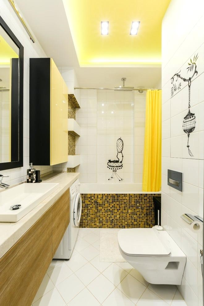 yellow bathtub color scheme bathroom color combinations yellow ceiling cabinet curtain black tile cabinet white floor wall and ceiling narrow interior decoration school in benin
