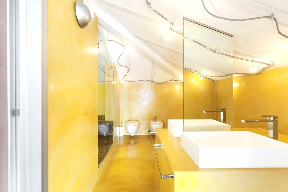 yellow bathtub color scheme the smoky yellow wall and flooring creates a bright bathroom atmosphere its even more striking interior decoration living room roof