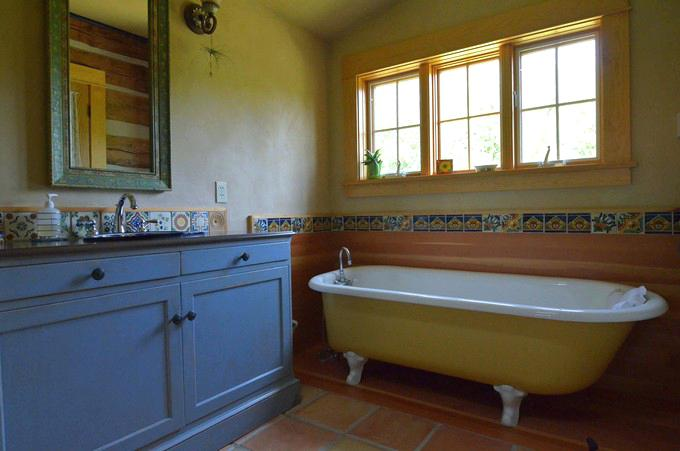 yellow bathtub color scheme tile bathroom rustic with blue cabinets cabin interior decoration school in benin