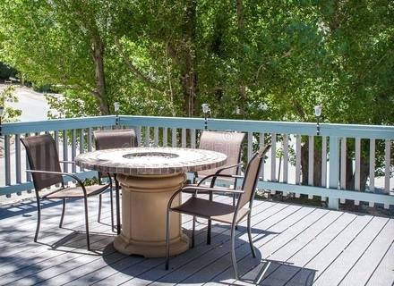 fire pit chairs diy patio table with fire pit and chairs on deck stock image image fire pit furniture diy