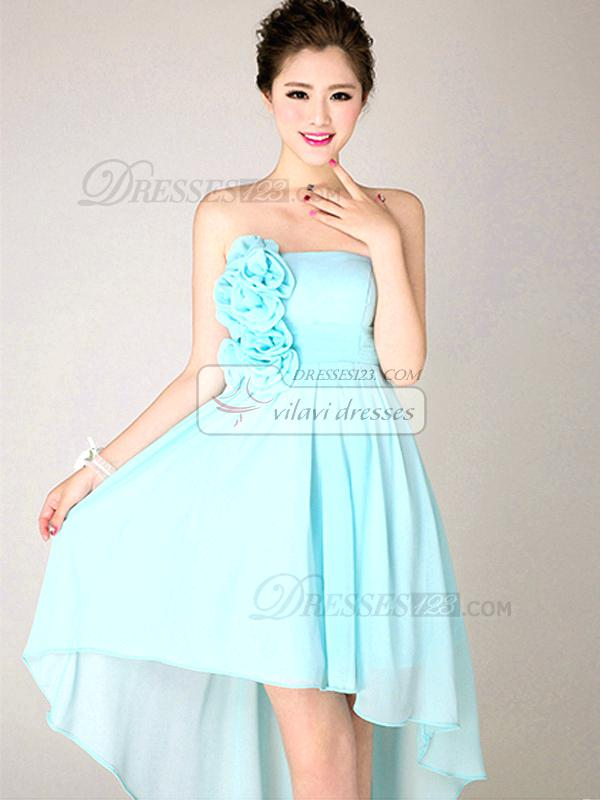 light teal color dresses a line strapless high low asymmetrical chiffon flower light sky blue bridesmaid dresses light teal blue prom dresses
