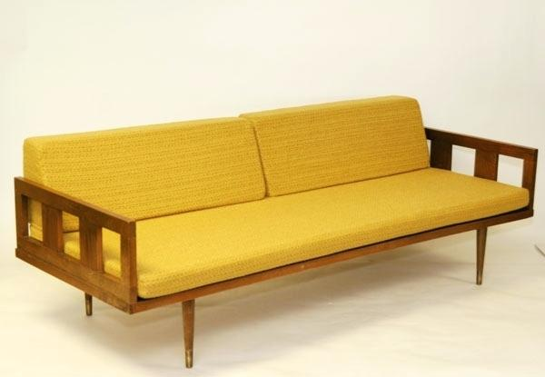 mid century sofa wood frame mid century modern design sofa open wooden frame steel back support turned legs