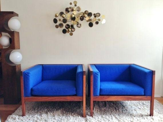 mid century sofa wood frame pair of royal blue wood frame cube club chairs in the style of nelson mid