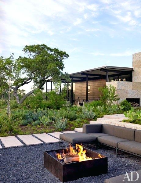 rustic landscaping ideas for a backyard modern rectangular fire pit design