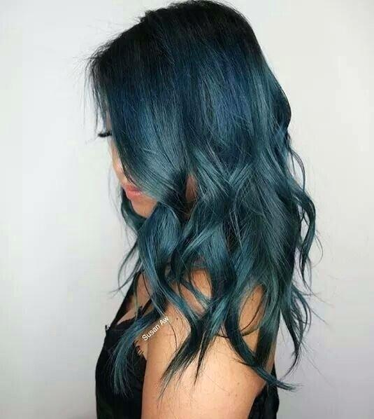 shades of teal hair medium length hair of teal color with light waves blue teal hair tips