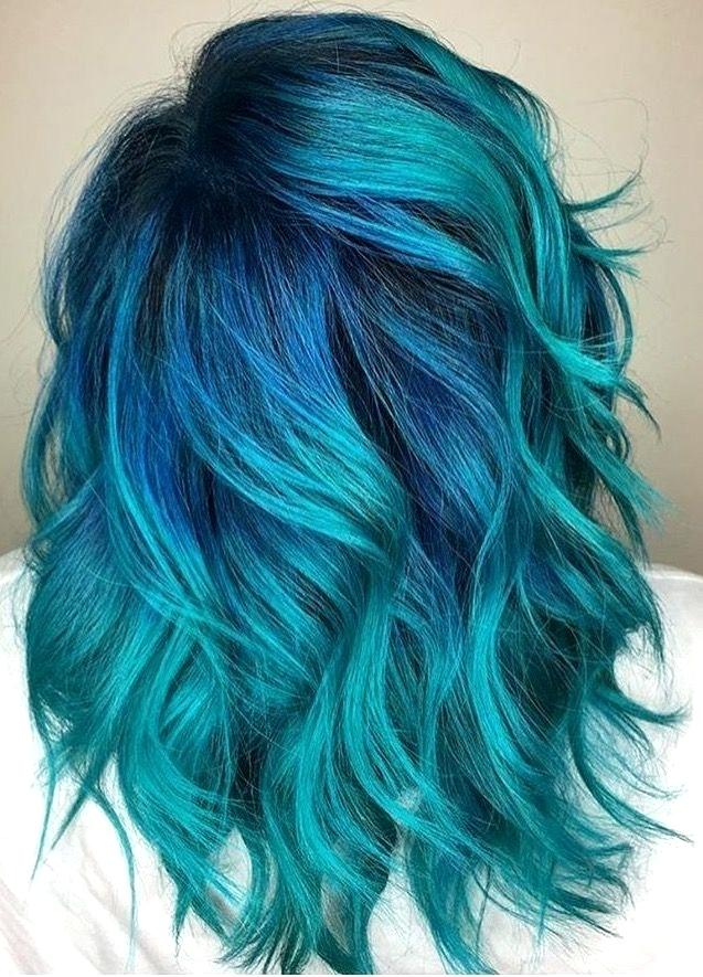 shades of teal hair teal hair with cobalt roots teal blue hair color