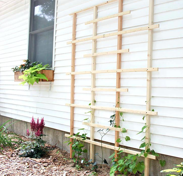 trellis next to house trellis made from scrap pieces of wood