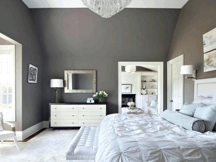 light grey walls white ceiling white drawer with dark brown frame dark grey wall paint white wooden door white tufted