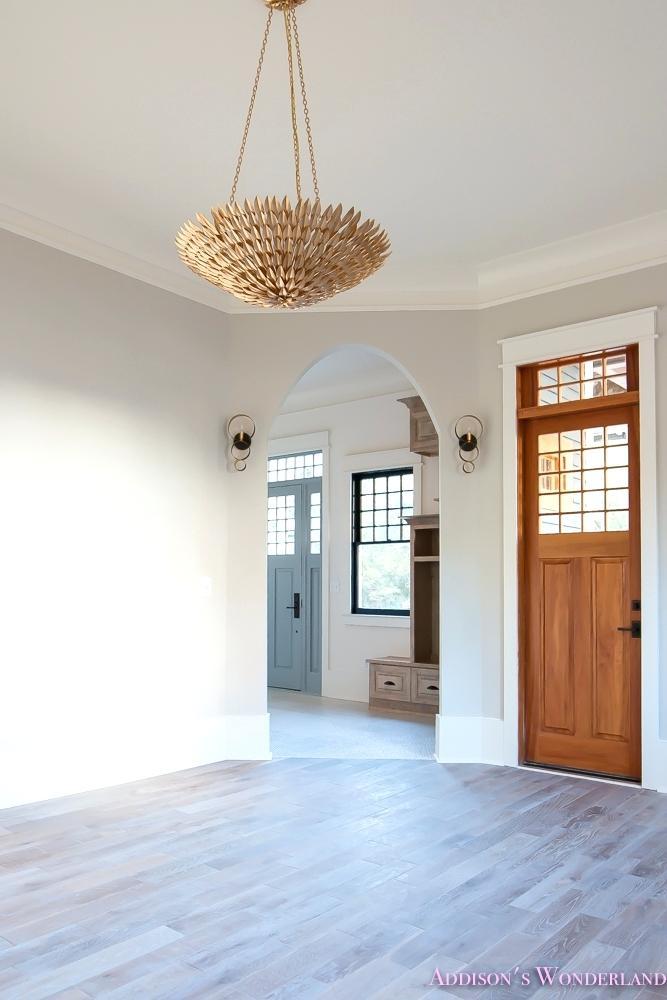 Light Hardwood Floors Grey Walls Living Room Light Gray Walls Grey Gold Chandelier Black Window Sashes Whitewashed Hardwood Flooring Light Blue Doors 1 Of 6
