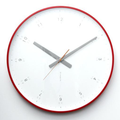 modern clock face modern red wall clock front