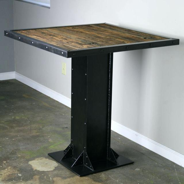 modern industrial kitchen table buy a hand made bistro dining table modern industrial design steel reclaimed wood great for restaurant or bar made to order from combine 9