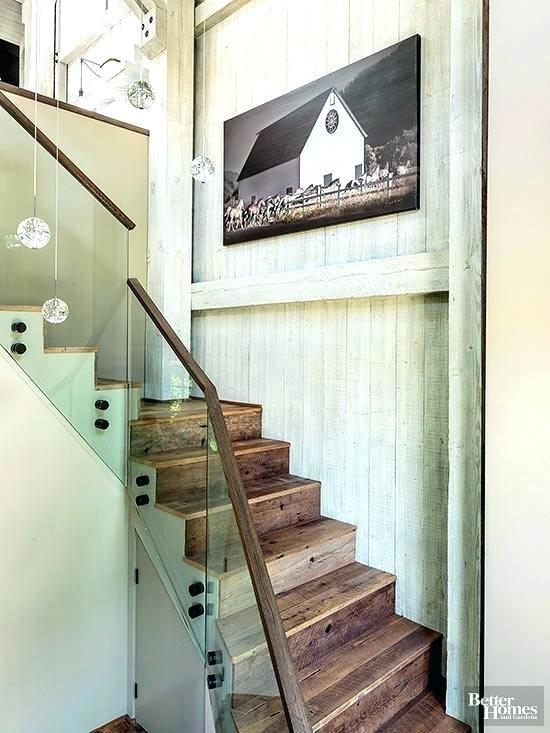 Plexiglass Railing Guard Stair Railing New Homes Interior Design Ideas From In This Updated Farmhouse A Wooden Handrail Stair Railing